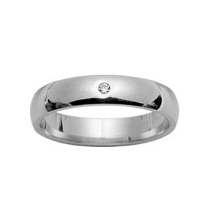 Alliance argent rhodié jonc 4mm plus 1 diamant 0,02 carat