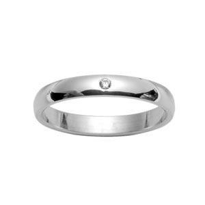 Alliance demi-jonc en argent rhodié 3mm avec 1 diamant 0,02 carats