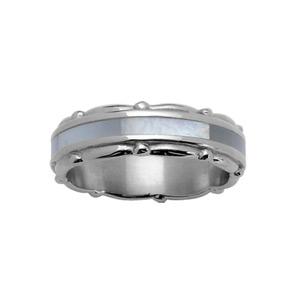 Alliance en acier 6mm avec bande centrale en nacre blanche véritable et bords décoration ruban - Vue 1