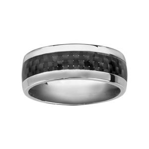 Alliance en acier avec bande en carbone motifs tressés au milieu et bords brillants - Vue 1