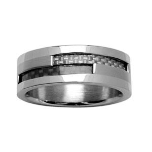 Alliance en acier avec bandes de carbone blanc et noir motif tressé - Vue 1