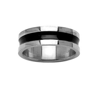 Alliance en acier brillant avec rainure IP black au milieu et bords brillants - Vue 1