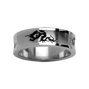 Alliance en acier incurvée avec gravure noire motifs dragons - Vue 1