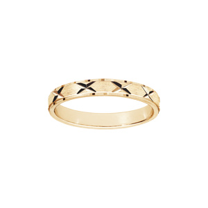 Alliance en argent et plaqué or rose satiné 3mm et diamantée en rose des vents et aux bords