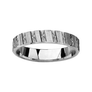 Alliance en argent rhodié 4mm avec motifs alternés : diamantage en étoiles et bandes satinées en biais - Vue 1