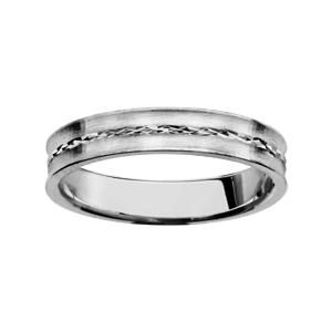 Alliance en argent rhodié 4mm finition satinée avec liseret diamanté brillant au milieu