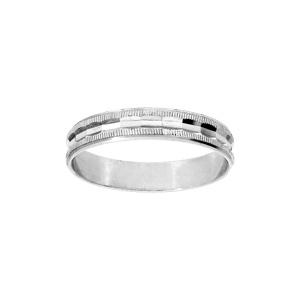 Alliance en argent rhodié diamantée avec striures largeur 4mm - Vue 1