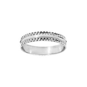 Alliance en argent rhodié diamantée bord cranté largeur 4mm - Vue 1