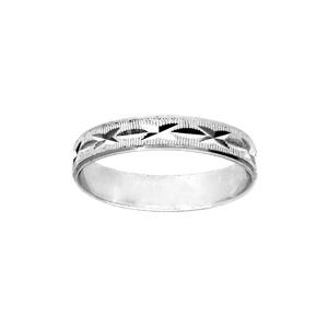 Alliance en argent rhodié diamantée en X avec striures largeur 4mm - Vue 1
