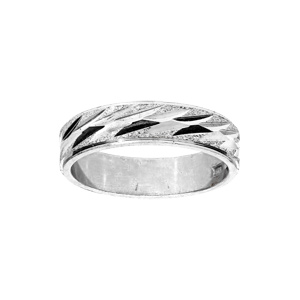 Alliance en argent rhodié diamantée en biais largeur 5mm - Vue 1