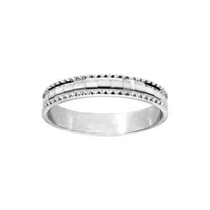 Alliance en argent rhodié diamantée en carré avec bord ciselé largeur 4mm - Vue 1