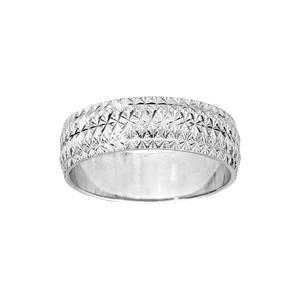 Alliance en argent rhodié diamantée en étoile finement travaillées largeur 6mm - Vue 1