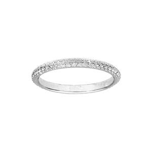Alliance en argent rhodié diamantée en étoile largeur 2mm - Vue 1