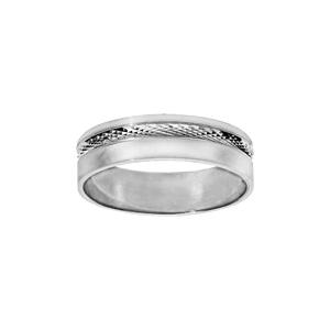 Alliance en argent rhodié diamantée et partie lisse largeur 6mm - Vue 1