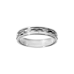 Alliance en argent rhodié diamantée ligne horizontale largeur 4mm - Vue 1