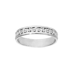 Alliance en argent rhodié diamantée rond finement ciselé largeur 4mm - Vue 1