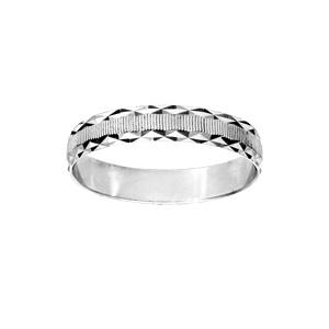Alliance en argent rhodié diamantée striée contour dentelé largeur 4mm - Vue 1