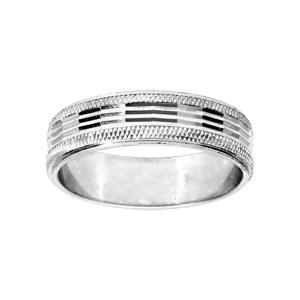 Alliance en argent rhodié diamantée sur le bord avec longues striures largeur 5mm - Vue 1