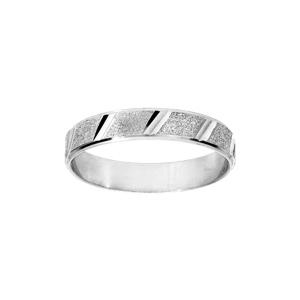Alliance en argent rhodié granité et diamantée biais largeur 4mm - Vue 1