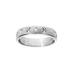 Alliance en argent rhodié granitée diamantée étoile largeur 6mm - Vue 1