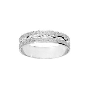 Alliance en argent rhodié granitée et diamantée croisée largeur 5mm - Vue 1