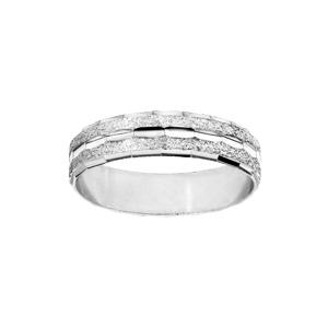 Alliance en argent rhodié granitée et diamantée en ligne largeur 5mm - Vue 1