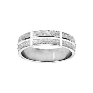 Alliance en argent rhodié ruban granitée diamantée largeur 6mm - Vue 1