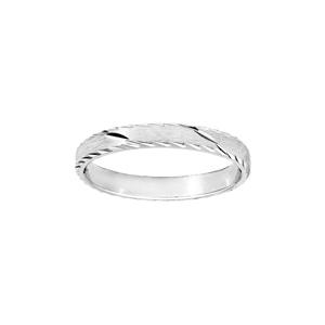Alliance en argent rhodié satiné 3mm et diamantée 1 trait en biais avec bords ciselés