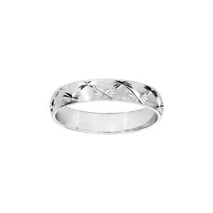 Alliance en argent rhodié satiné 4mm et diamantée 2 rangs d\'étoiles - Vue 1
