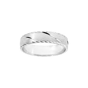 Alliance en argent rhodié satiné 5m et diamantée 1 trait en biais avec bords ciselés