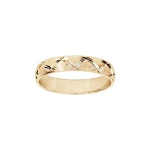 Alliance en plaqué or rose satiné sur argent diamantée avec 2 rangs d\'étoiles 4mm - Vue 1