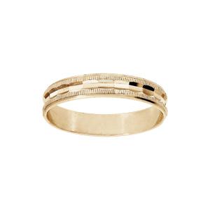 Alliance en vermeil diamantée avec striures largeur 4mm - Vue 1