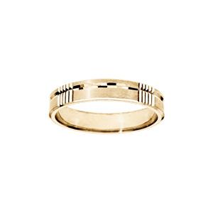 Alliance en vermeil diamantée brossé largeur 4mm - Vue 1