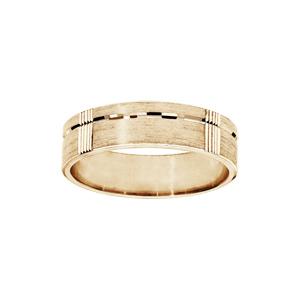 Alliance en vermeil diamantée brossé largeur 6mm - Vue 1