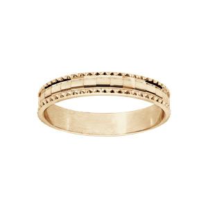 Alliance en vermeil diamantée en carré avec bord ciselé largeur 4mm - Vue 1