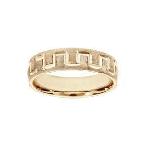 Alliance en vermeil givrée et diamantée motif grecque largeur 5mm - Vue 1