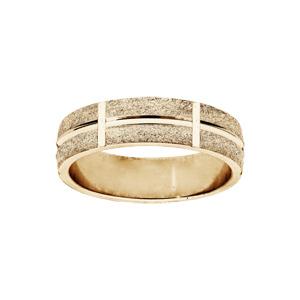 Alliance en vermeil ruban granitée diamantée largeur 6mm - Vue 1