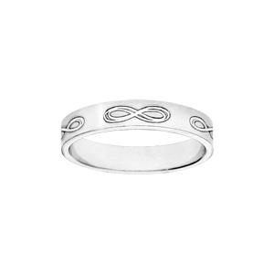 Alliance ruban en argent 4mm gravée symboles infini - Vue 1
