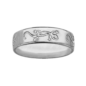 Alliance ruban en argent 6mm gravée motifs salamandres - Vue 1