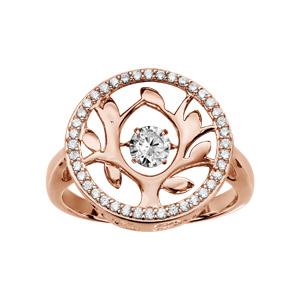 Bague Dancing Stone en argent et dorure rose motif arbre de vie orné d\'oxydes blancs - Vue 1