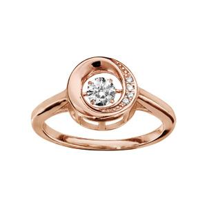 Bague Dancing Stone en argent et dorure rose motif cercle orné d\'oxydes blancs - Vue 1