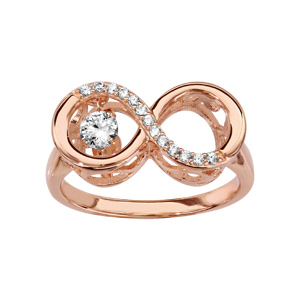 Bague Dancing Stone en argent et dorure rose motif infini orné oxydes blancs - Vue 1
