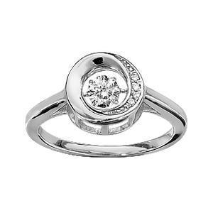 Bague Dancing Stone en argent rhodié cercle et oxydes blancs - Vue 1
