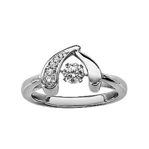 Bague Dancing Stone en argent rhodié forme circonflexe et oxydes blancs - Vue 1