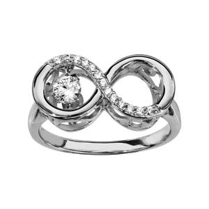 Bague Dancing Stone en argent rhodié infini et oxydes blancs