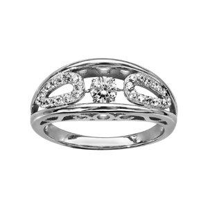 Bague Dancing Stone en argent rhodié support lisse avec ovales ornés d\'oxydes blancs sertis à l\'intérieur - Vue 1