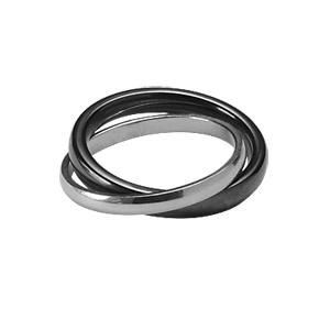 Bague double anneaux : 1 de 3mm en céramique noire et 1 de 2mm en argent rhodié - Vue 1