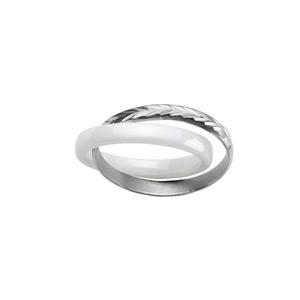 Bague double anneaux : 1 en céramique blanche et 1 en argent rhodié ciselé en épis - Vue 1