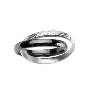 Bague double anneaux : 1 en céramique noire et 1 en argent rhodié ciselé en épis - Vue 1