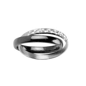Bague double anneaux : 1 en céramique noire et 1 en argent rhodié ciselé en étoiles - Vue 1